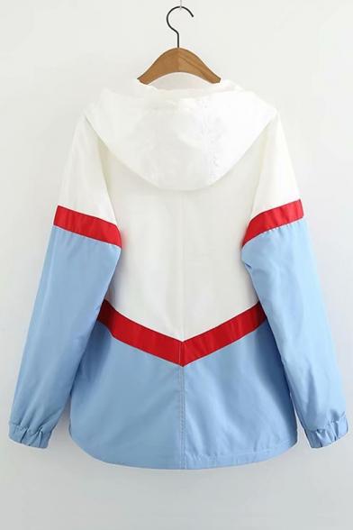 Color Block Zip Up Long Sleeve Hooded Coat