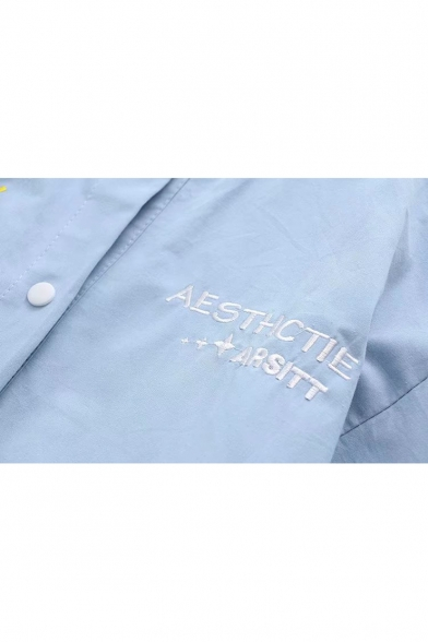 Button Embroidered Front Sleeve Jacket Contrast Striped Letter Long Stand Baseball Up Trim Collar vq6q8Rzw