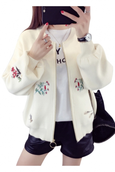 Fashion Floral Embroidered Zip Up Long Sleeve Crop Baseball Jacket