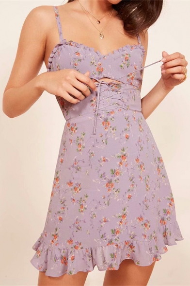 Floral Sleeveless Spaghetti Straps Printed Dress Hollow Out Mini Cami Up Detail Front Lace CX6nUp
