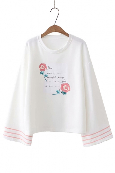 T Floral Round Letter Neck Long Shirt Printed Sleeve Loose dAq0RzxF0n
