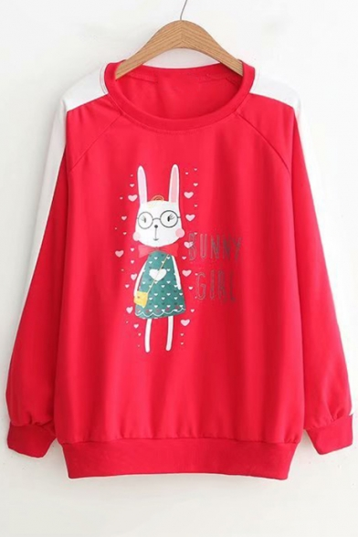Letter Rabbit Heart Printed Long Sleeve Leisure Hoodie