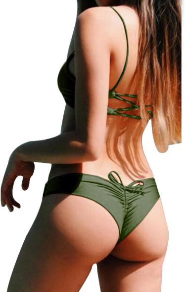 Plain Sexy Drawstring Ruched Detail Spaghetti Straps Bikini