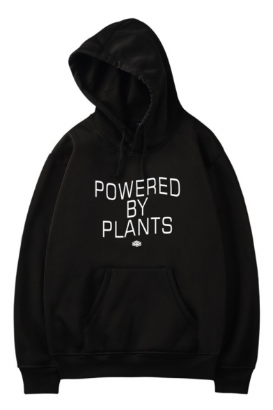 Long Printed Letter Sleeve BY POWERED Hoodie Casual PLANTS cBF7SRnv