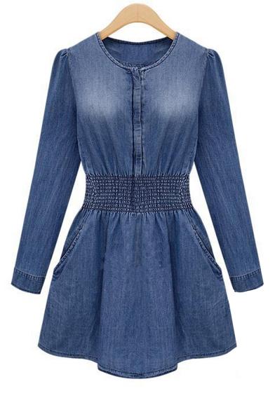 Round Neck Long Sleeve Elastic Waist Slim Leisure Mini Denim A-Line Dress