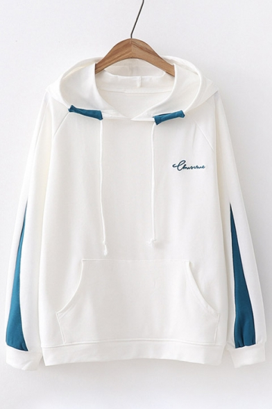 Leisure Embroidered Casual Sleeve Block Sports Hoodie Long Color Letter 1xWcPaBav