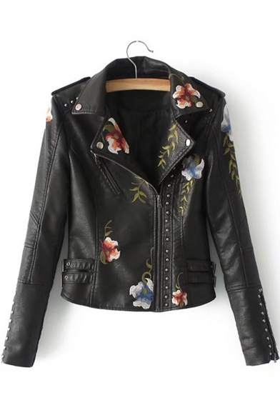 Zip Up Jacket Collar Floral PU Long Stud Lapel Notched Embroidered Embellished Sleeve 87ZWqwgz