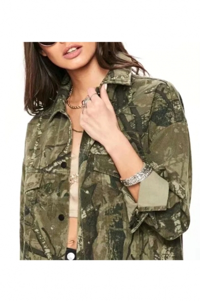 Vintage Camouflage Printed Lapel Collar Long Sleeve Button Front Tunic Denim Jacket