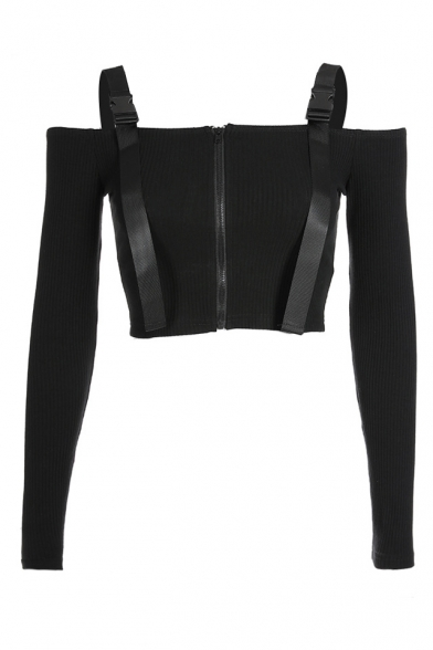 Tee Zipper The Embellished Long Crop Ribbed Off Sleeve Front Straps Shoulder Buckle HwBHxPErq