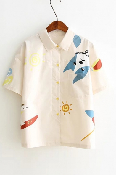 Baycheer / Cartoon Dog Sun Printed Lapel Collar Short Sleeve Button Front Shirt