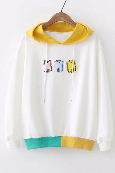 Cat Embroidered Applique Color Block Long Sleeve Hoodie