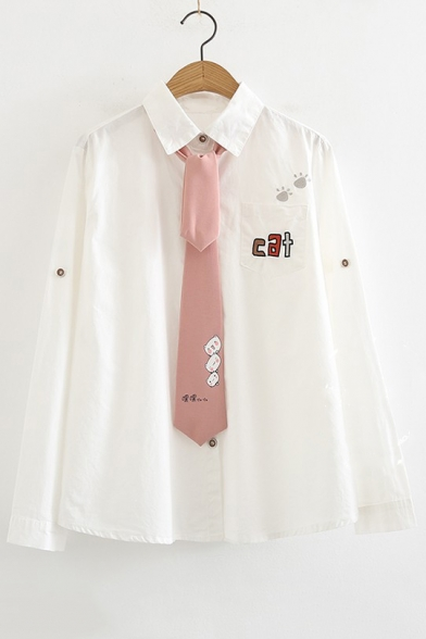 CAT Letter Embroidered Lapel Collar Long Sleeve Button Front Shirt with Tie