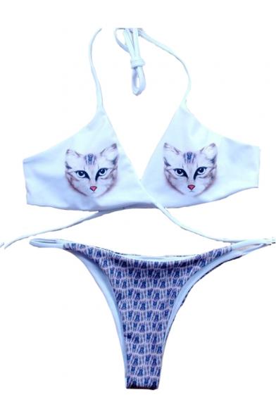 Chic Cat Printed Halter Sleeveless Sexy Bikini