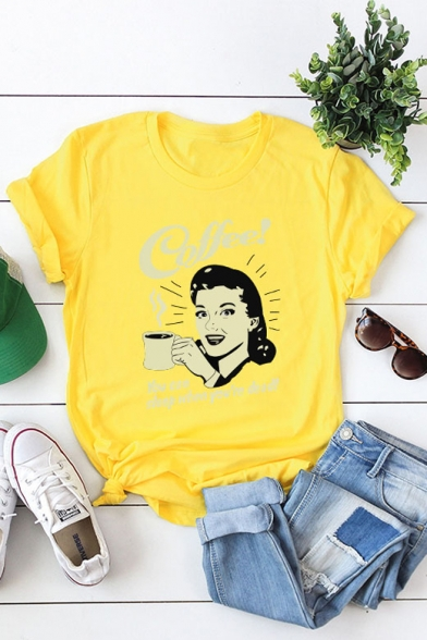 COFFEE Letter Character Printed Round Neck Short Sleeve T-Shirt