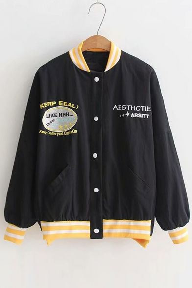 Contrast Striped Trim Stand Up Collar Long Sleeve Letter Embroidered Button Front Baseball Jacket