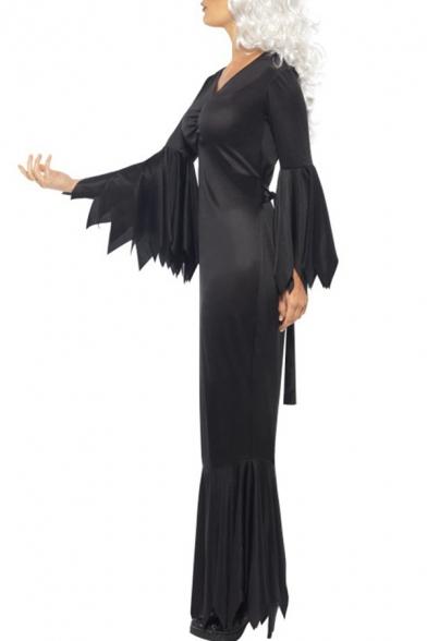 Cosplay Dark V Neck Long Sleeve Slim Maxi Pencil Dress