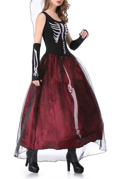 Halloween Series Mesh Insert Color Block Skull Printed Round Neck Sleeveless Maxi A-Line Dress