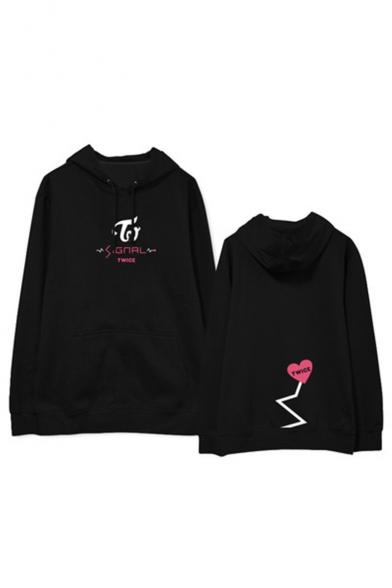 Kpop Twice Korean Star Heart Letter Graphic Printed Long Sleeve Hoodie