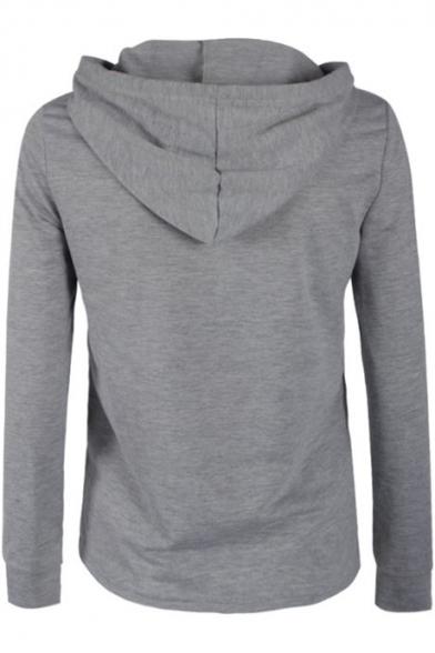 Leisure Long Sleeve Zip Up Plain Sports Hoodie