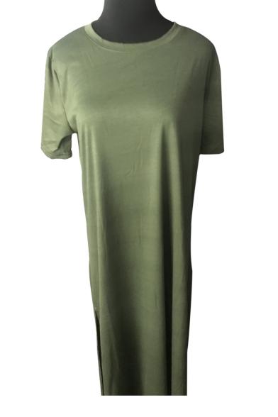Side Sleeve Neck Round Dress Short Split Leisure Shirt T Maxi Plain IwAqCY