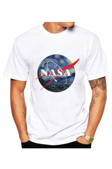 Tee Round Letter NASA Painting Neck Printed Sleeve Short 0C4ZwB