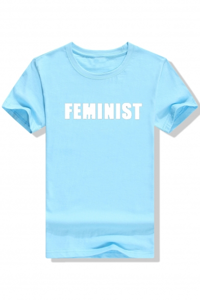 FEMINIST Neck T Round Printed Shirt Sleeve Short Letter B5cqF