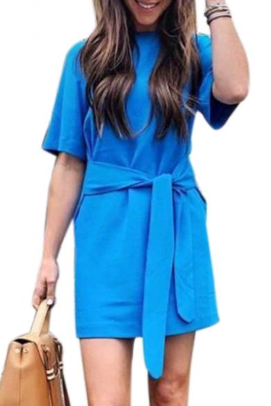Round Neck Short Sleeve Tie Waist Mini T-Shirt Dress