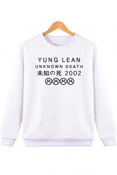 Sweatshirt Printed Face Sad Round Sleeve Letter Long Japanese Neck CTtxqtZ8