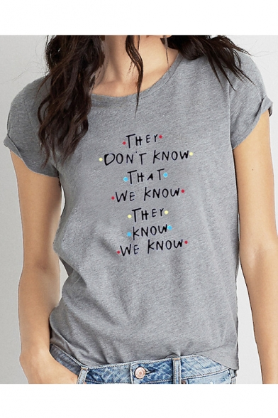 THEY DON'T KNOW Letter Colorful Pot Printed Round Neck Short Sleeve T-Shirt