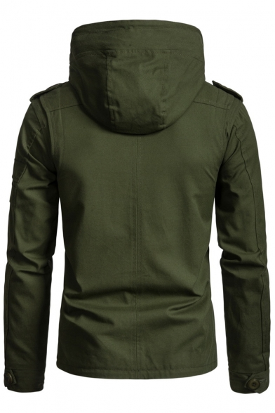 Zip Up Long Sleeve Plain Toggle Button Front Trendy Hooded Jacket