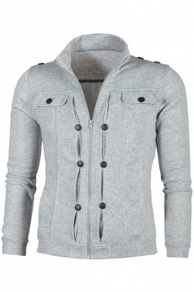 Zip Up Long Sleeve Stand Up Collar Plain Fashion Jacket