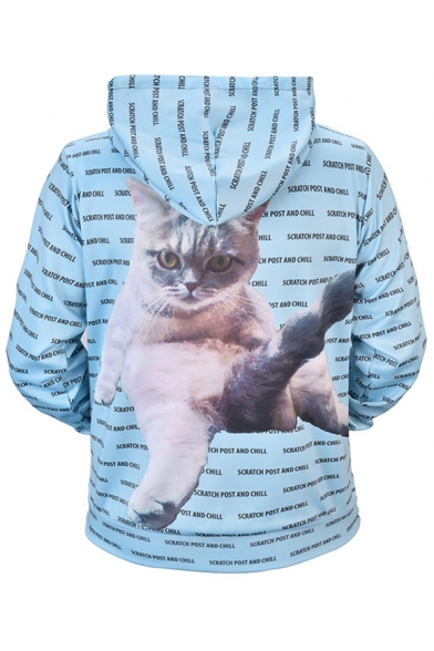 All Over Letter Cat Printed Long Sleeve Oversized Hoodie