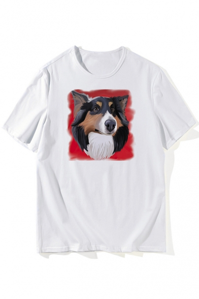 Casual Dog Printed Round Neck Short Sleeve Summer Tee