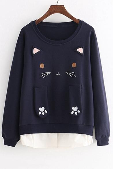 Cat Embroidered Patchwork Hem Round Neck Long Sleeve Sweatshirt
