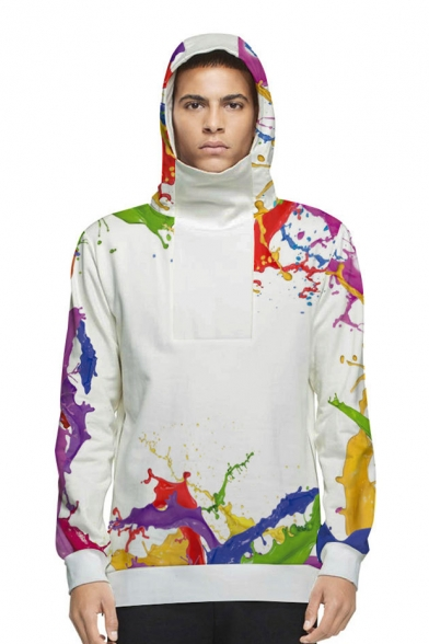 Printed Ink Hoodie Splash Sports Long Sleeve Colorful 4EZxTq0wgx