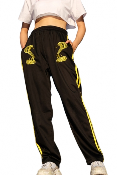 Elastic Waist Snake Embroidered Loose Contrast Striped Side Leisure Sports Pants