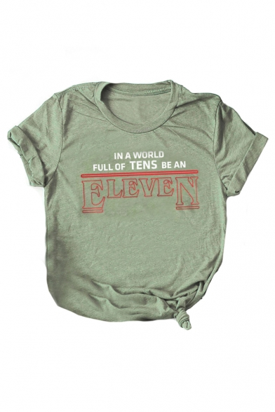 Short ELEVEN Neck Letter Tee Printed Graphic Round Sleeve wqvUcqXWZO