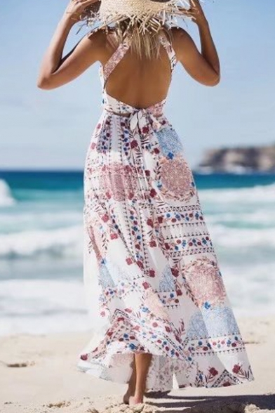 Halter Sleeveless Floral Printed Split Front Maxi Beach Dress