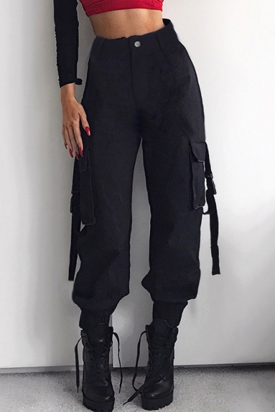 High Waist Plain Buckle Straps Embellished Cuffed Cargo