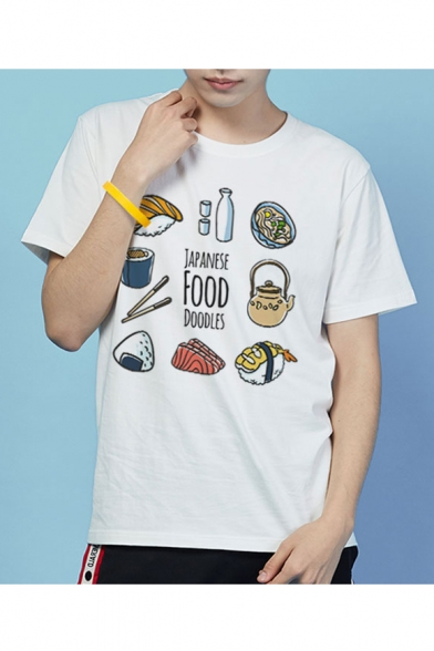 Round Shirt Sleeve NOODLES Neck T Short Printed FOOD Food Letter JAPANESE v48HxqwH