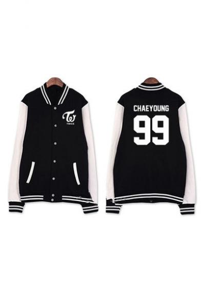 Kpop Twice Korean Star Number Letter Graphic Printed Color Block Contrast Striped Trim Baseball Jacket