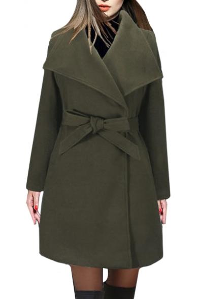Lapel Collar Long Sleeve Plain Tie Waist Slim Woolen Coat