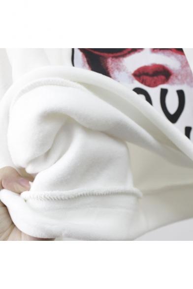 Crop Sleeve Hoodie Long Letter Printed Character Velvet LOVE wHCqBvYxW
