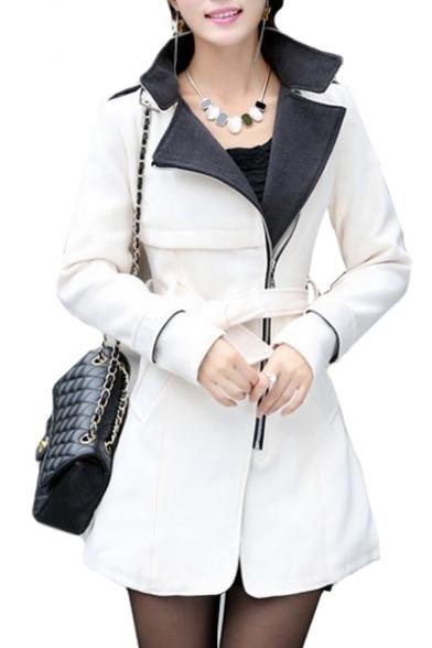 Notched Lapel Collar Long Sleeve Zip Up Bow Tie Waist Plain Tunic Coat