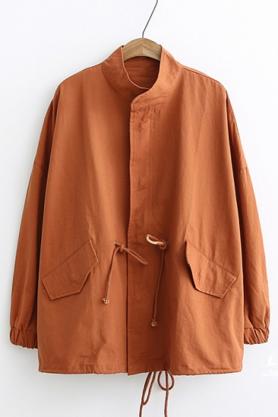 Plain Drawstring Waist Stand Up Collar Long Sleeve Zip Up Jacket