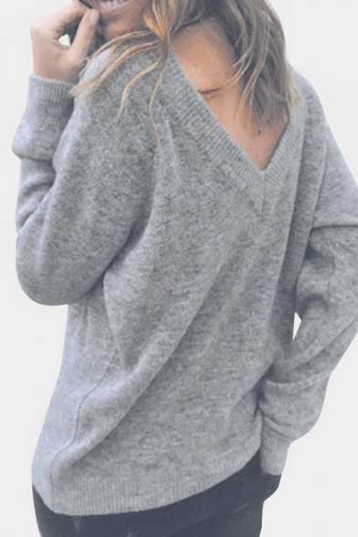 Reversible Round Neck Long Sleeve Plain Sweater