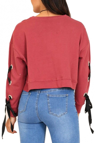 Long Detail Sweatshirt Up Lace Sleeve Neck Round Plain Crop xwzBq