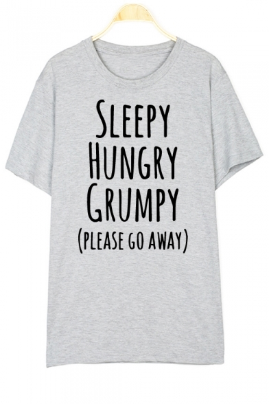 Letter T Short SLEEPY Round HUNGRY Sleeve Shirt Neck Printed 0qa5af