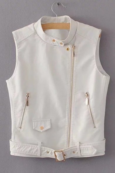 Zip Stand Embellished Up PU Zipper Collar Up Vest Sleeveless p4rXq4H