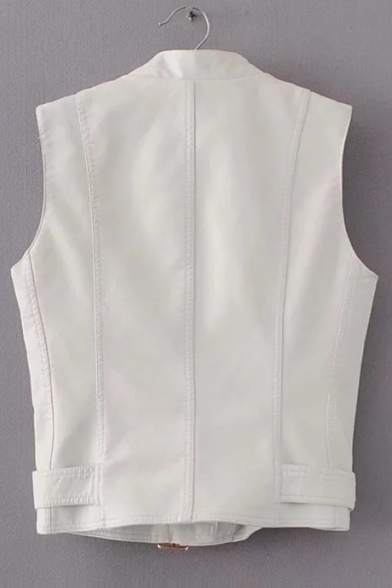 Embellished Stand Collar Up Zipper PU Sleeveless Up Vest Zip 5rrtqpxf